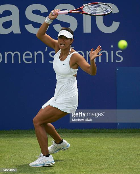 Lilia Osterloh of the United States in action against Maria Sharapova of Russia during the DFS Classic at the Edgbaston Priory Club on June 13 2007...