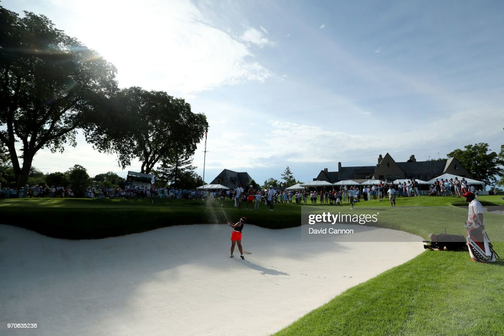 Lilia Vu of the United States Team plays her second shot on the ninth hole in her match with Jennifer Kupcho against Olivia Mehaffey and Sophie Lamb of the Great Britain and Ireland Team during the afternoon foursomes matches in the 2018 Curtis Cup Match at Quaker Ridge Golf Club on June 9, 2018 in Scarsdale, New York.