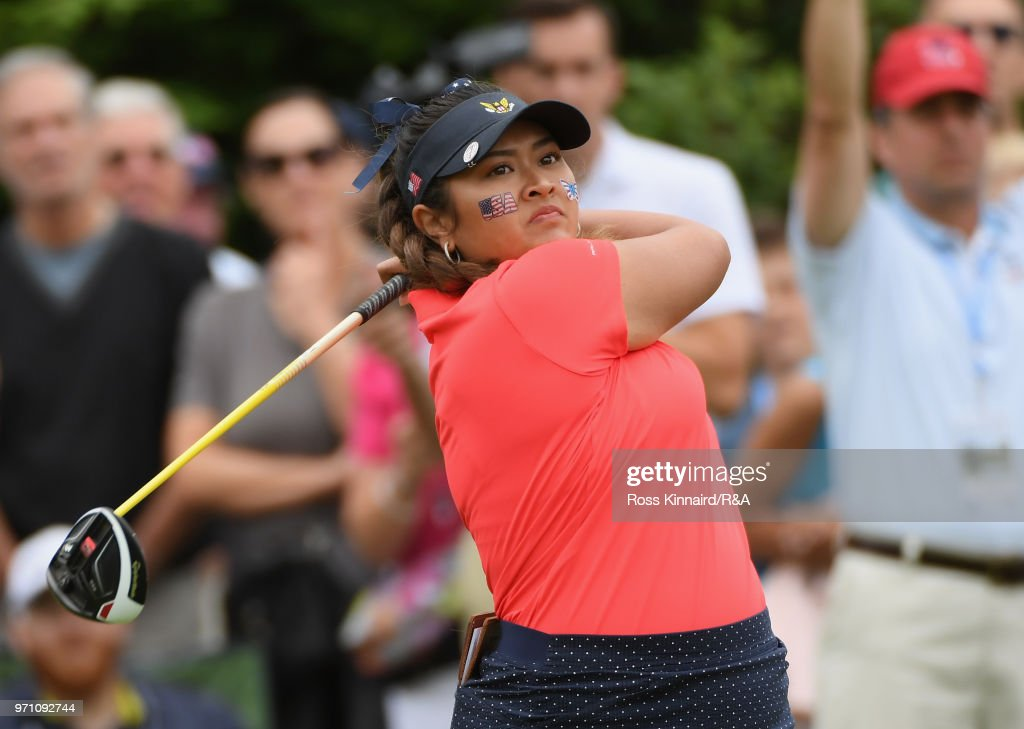 Lilia Vu of the United States team plays her shot from the first tee during the singles matches on day three of the 2018 Curtis Cup Match at Quaker Ridge Golf Club on June 10, 2018 in Scarsdale, New York.