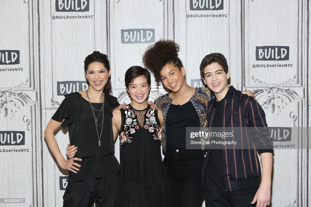 Lilian Bowden, Peyton Lee, Sofia Wylie and Joshua Rush at Build attend Build Series to discuss 'Andi Mack'Studio on February 21, 2018 in New York City.