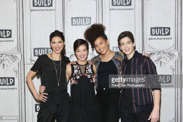 Lilian Bowden Peyton Lee Sofia Wylie and Joshua Rush at Build attend Build Series to discuss 'Andi Mack'Studio on February 21 2018 in New York City