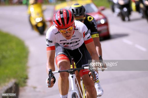 Lilian Calmejane of France and Team Direct Energie and Toms Skujins of Latvia and Team Trek Segafredo ride in the breakaway during stage five of the...