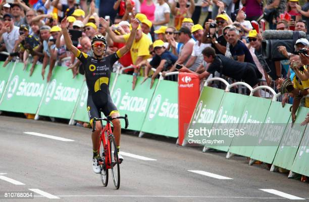 Lilian Calmejane of France and team Direct Energie celebrates crossing the finish line to win stage eight of the 2017 Le Tour de France a 1875km road...