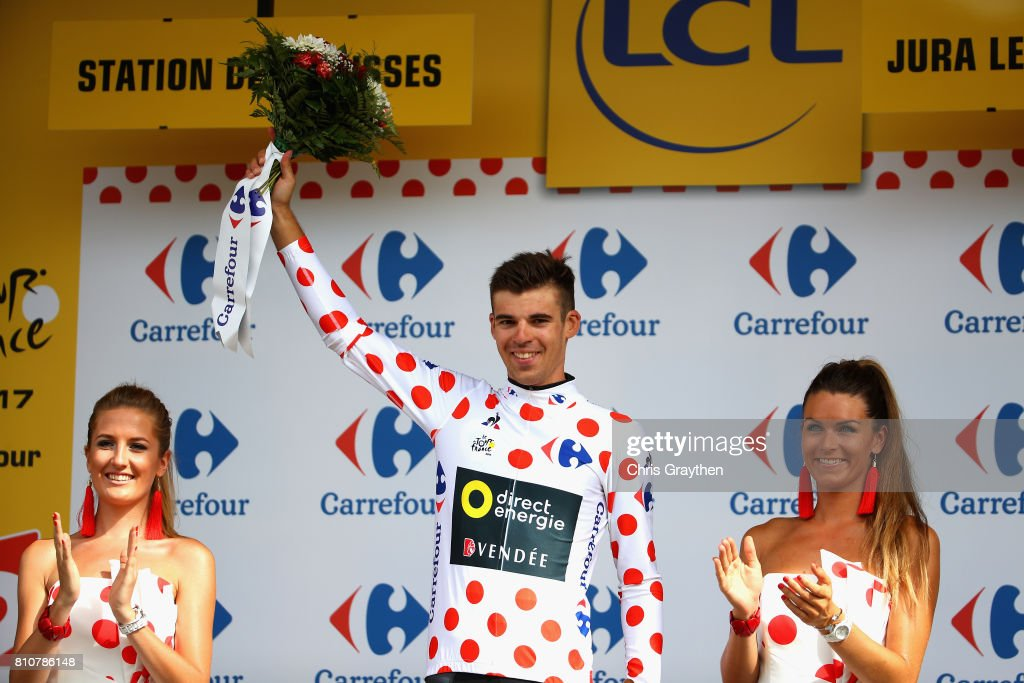 Lilian Calmejane of France and Team Direct Energie celebrates winning the Polka-Dot Jersey during stage eight of the 2017 Le Tour de France, a 187.5km road stage from Dole to Station Des Rousses on July 8, 2017 in Dole, France.