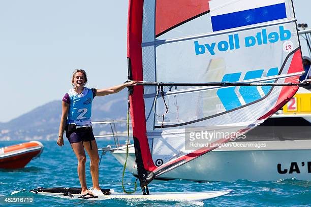 Lilian de Geus from the Dutch Sailing Team sails her RSX to silver medal position during day six of the ISAF Sailing World Cup on April 05 2014 in...