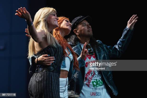 Lilian Garcia Becky Lynch and Shinsuke Nakamura speak on stage during ACE Comic Con on June 22 2018 at WaMu Theatre in Seattle Washington