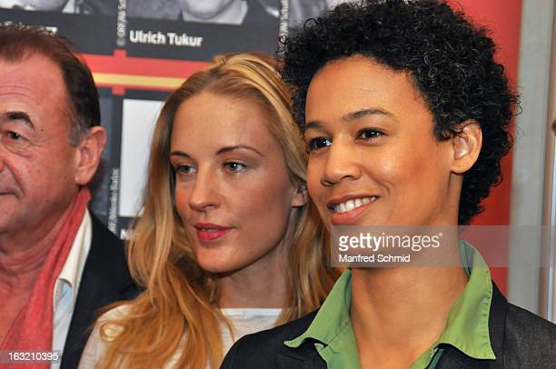 Lilian Klebow and Claudia Unterweger pose during the press conference for Kurier Romy Gala 2013 at Kempinsky Hotel Wien on March 6 2013 in Vienna...