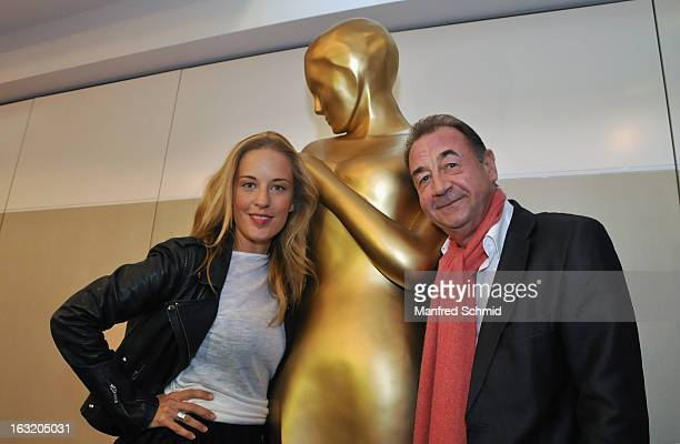 Lilian Klebow and Dietrich Siegl pose during the press conference for Kurier Romy Gala 2013 at Kempinsky Hotel Wien on March 6 2013 in Vienna Austria