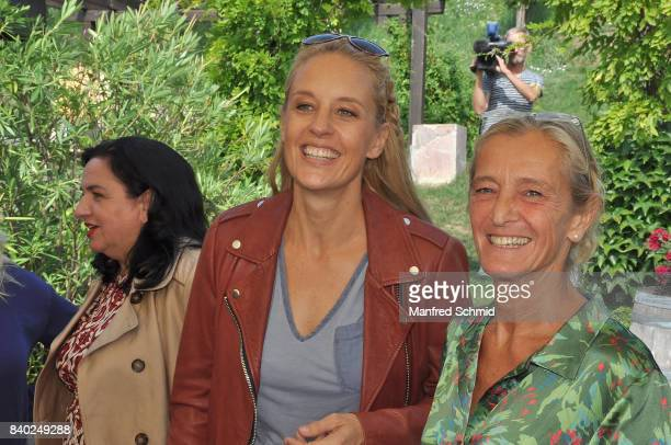 Lilian Klebow and Kathrin Zechner pose during a 'Soko Wien' photo call at Heuriger TratWieser on August 28 2017 in Klosterneuburg Austria