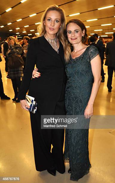 Lilian Klebow and Nina Blum pose for a photograph during the Nestroy Award 2014 at Wiener Stadthalle on November 10 2014 in Vienna Austria