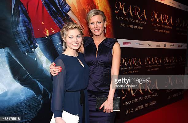 Lilian Lilly Prent and Eva Habermann during the Munich premiere of the film 'Mara und der Feuerbringer' at Arri Kino on March 30 2015 in Munich...