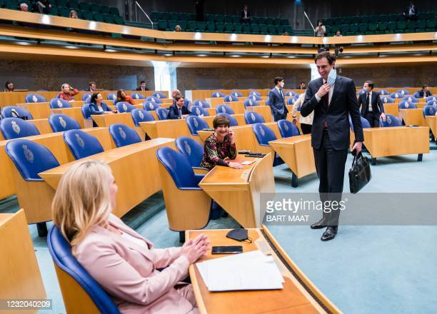 Lilian Marijnissen , Lilianne Ploumen and Wopke Hoekstra arrive at the House of representatives, on March 31 2021 in The Hague, during a debate about...