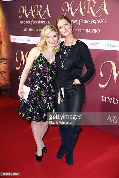 Lilian Prent and Esther Schweins attend the German premiere of the film 'Mara und der Feuerbringer' at Cinedom on March 29, 2015 in Cologne, Germany.