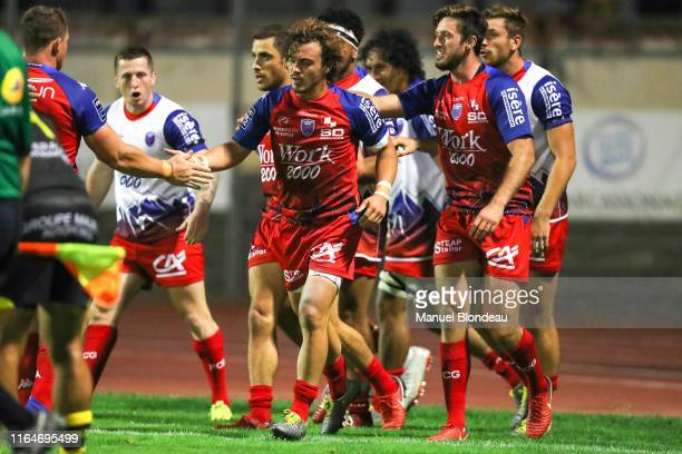 Lilian Saseras of Grenoble celebrates after scoring a try during the Pro D2 match between Carcassonne and Grenoble on August 29 2019 in Carcassonne...