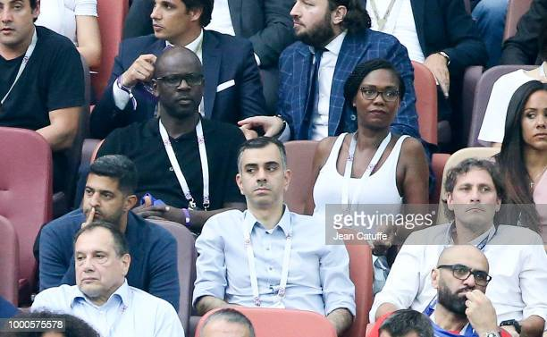 Lilian Thuram and girlfriend Kareen Guiock attend the 2018 FIFA World Cup Russia Final match between France and Croatia at Luzhniki Stadium on July...