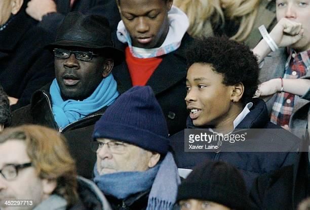 Lilian Thuram and his son Khephren Thuram attend the UEFA Champions League between Paris SaintGermain FC and Olympiacos FC at Parc Des Princes on...