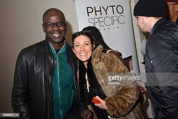 Lilian Thuram and PR Sandra Aubert attend The 'Pari D'Amies' Rokhaya Diallo and Kim Consigny Book Launch Cocktail At Le Hangar on April 7 2015 in...