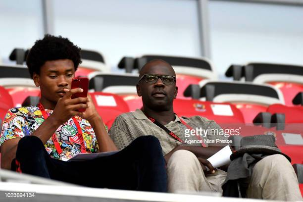 Lilian Thuram former french player and his son Khephren during Ligue 1 match between Nice and Dijon on August 25 2018 in Nice France