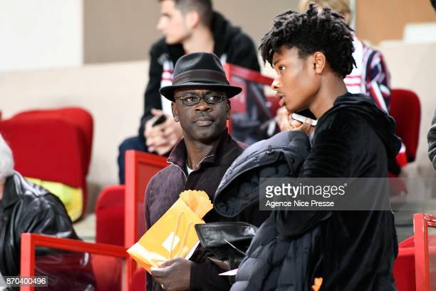 Lilian Thuram former Monaco player and his son Khephren during the Ligue 1 match between AS Monaco and EA Guingamp at Stade Louis II on November 4...