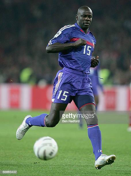 Lilian Thuram in action for France during the FIFA World Cup Qualifying Group Four match between Switzerland and France at the Stad de Suisse on...