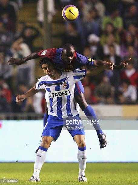 Lilian Thuram of Barcelona gets above Riki of Deportivo during a Primera Liga match between Deportivo La Coruna and Barcelona at the Riazor stadium...