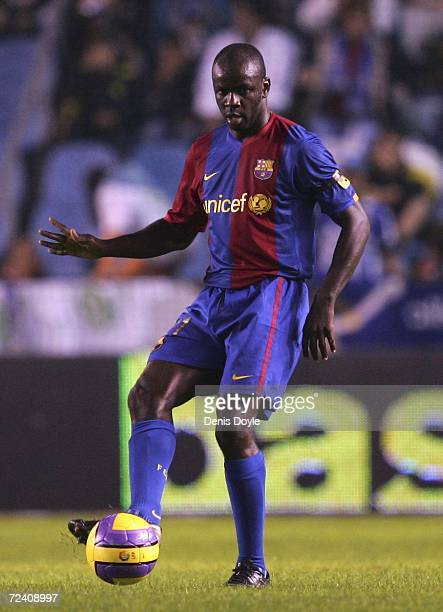 Lilian Thuram of Barcelona passes the ball during the Primera Liga match between Deportivo La Coruna and Barcelona at the Riazor stadium November 4...