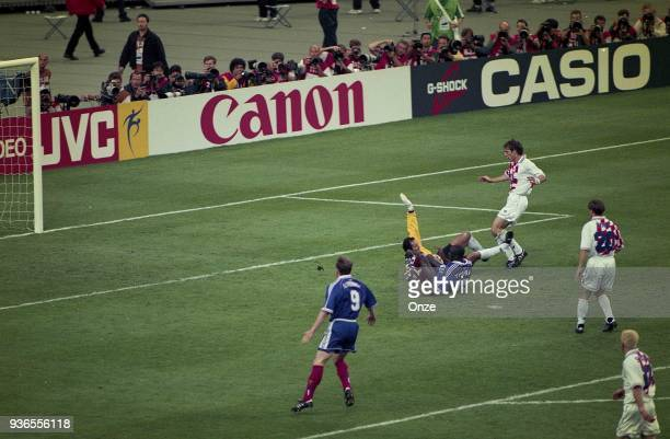 Lilian Thuram of France score a goal during the Soccer World Cup semi final match between France and Croatia on July 08th 1998 in Paris France...