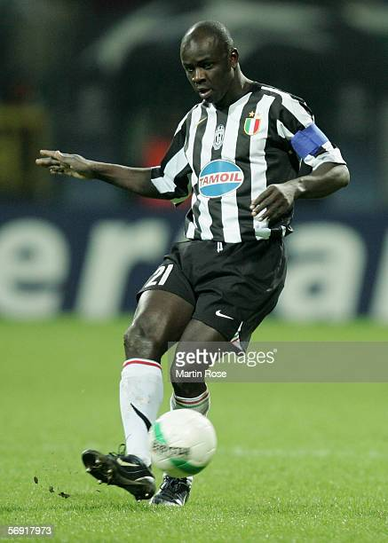 Lilian Thuram of Juventus passes the ball during the UEFA Champions League round sixteen first leg match between Werder Bremen and Juventus at the...
