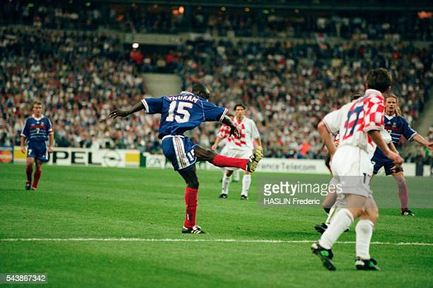 Lilian Thuram scoring a goal for France during the semifinals of the FIFA 1998 World Cup FranceCroatia | Location SaintDenis France