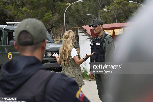 Lilian Tintori wife of imprisioned Leopoldo Lopez stand outside the Ramo Verde prison attempting to visit the jailed opposition leader in Los Teques...