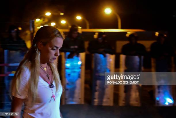 Lilian Tintori wife of imprisoned Venezuelan opposition leader Leopoldo Lopez holds a sitin for not being allowed to see her husband for the past 30...