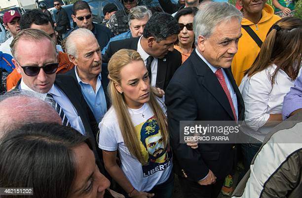 Lilian Tintori wife of jailed opposition leader Leopoldo Lopez former Chilean president Sebastian Pinera and former Colombian president Andres...