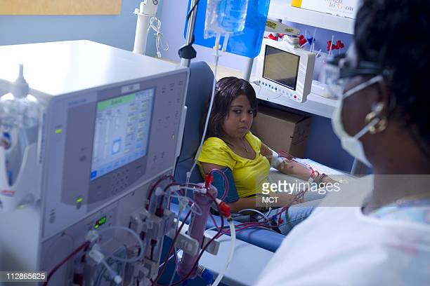 Liliana Cruz right receives kidney dialysis at a clinic on the southwest side August 5 in Chicago Illinois Cruz an illegal immigrant has a donor for...