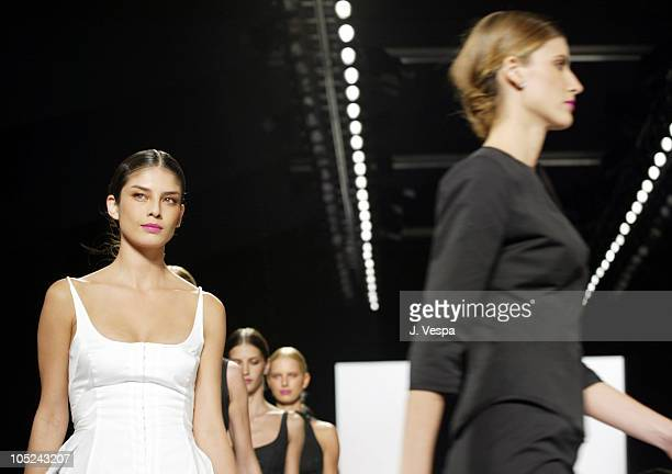 Liliana Dominguez and models wearing Narciso Rodriguez Spring 2004