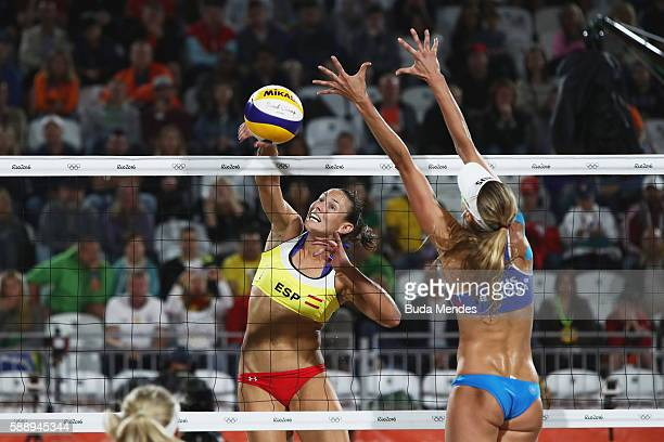 Liliana Fernandez Steiner of Spain in action during the Women's Round of 16 match against Ekaterina Birlova and Evgenia Ukolova of Russia on Day 7 of...