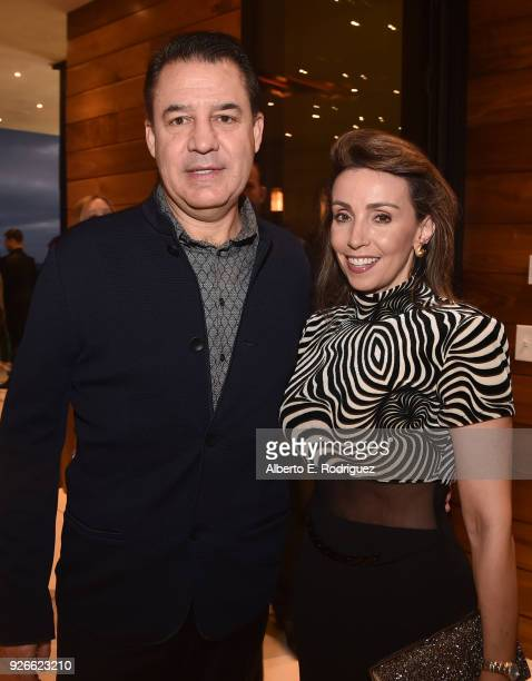 Liliana Molina and Mauricio Vallejo attend a cocktail party hosted by the Elton John AIDS Foundation and BBVA Compass to celebrate EJAF the 90th...