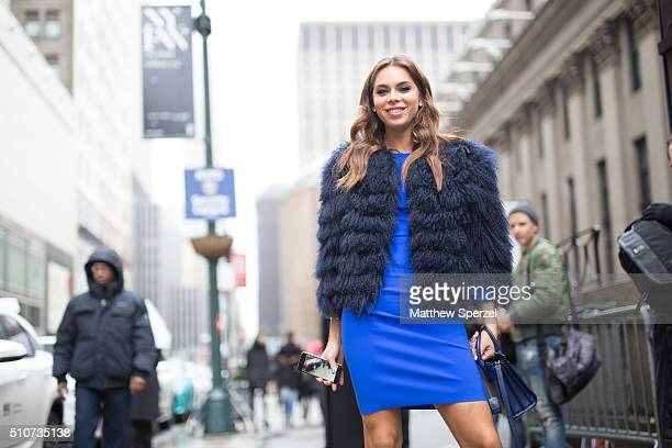 Liliana Nova is seen at the Vera Wang Collection show during New York Fashion Week Women's Fall/Winter 2016 on February 16 2016 in New York City