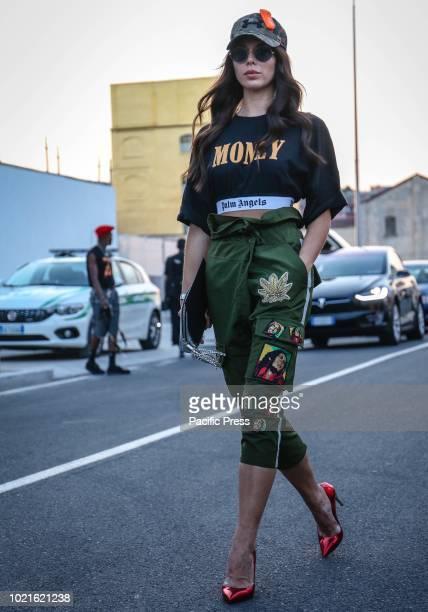 Liliana Nova on the street during the Milan Fashion Week