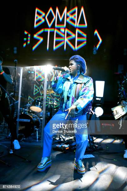 Liliana Saumet of Bomba Estereo performs onstage at Spotify Celebrates Latin Music and Their Viva Latino Playlist at Marquee Nightclub on November 14...