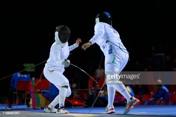 Liliana Tejeda and Elizabeth Medina of Mexico compete in Fencing Women's Épée Individual Table of 16 on Day 12 of Lima 2019 Pan American Games at...