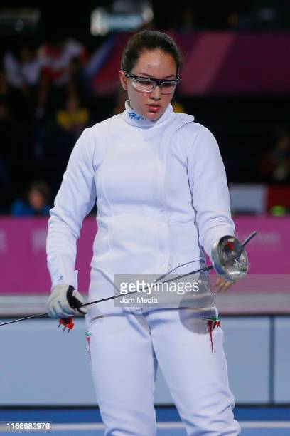 Liliana Tejeda of Mexico gestures in Fencing Women's Épée Individual Table of 16 on Day 12 of Lima 2019 Pan American Games at Lima Convention Center...
