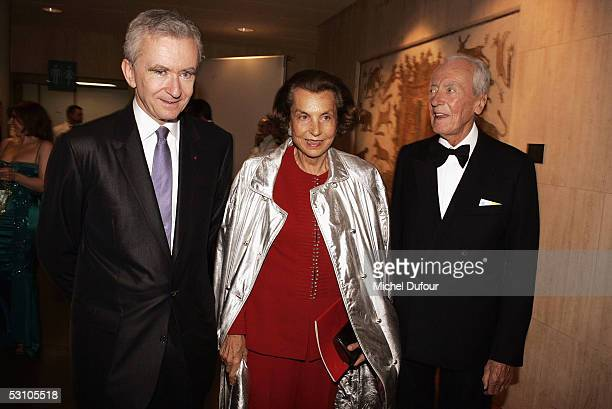 Liliane and Andre Bettencourt and French businessman Bernard Arnault attends Le Concert de la Paix held to raise funds for The Weizmann Institute of...