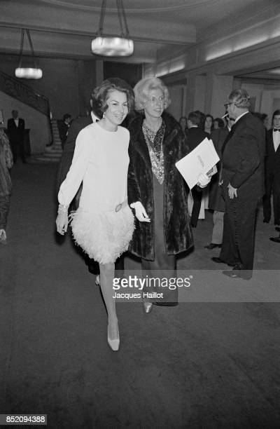 Liliane Bettencourt and Claude Pompidou at the opening of the musical 'L'homme de la Mancha' Paris 11th December 1968