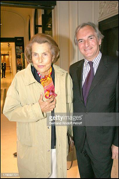 Liliane Bettencourt and Francis Briest at Opening Of Gerard Oury's Art Collection To Be Auctioned