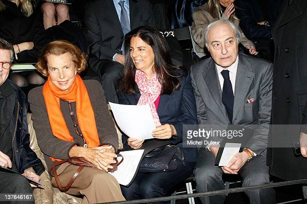 Liliane Bettencourt and Francoise Bettencourt Meyers attend the Giorgio Armani Prive HauteCouture Spring / Summer 2012 show as part of Paris Fashion...