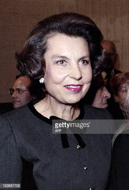 Liliane Bettencourt French business woman and l'Oreal's chief shareholder attends Senator Andre Bettencourt's admission ceremony at the Paris...
