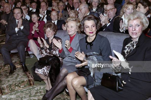 Liliane Bettencourt French business woman and l'Oreal's chief shareholder Claude Pompidou widow of President Georges Pompidou and Bernadette Chirac...