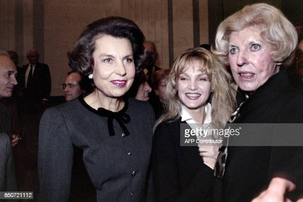 Liliane Bettencourt French business woman and l'Oreal's chief shareholder Claude Pompidou widow of President Georges Pompidou and French actress...
