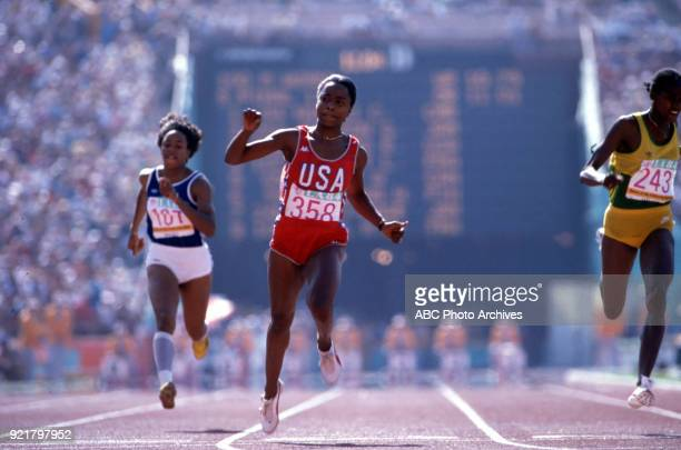 Liliane Gaschet Evelyn Ashford Grace Jackson Women's Track 100 metres competition Memorial Coliseum at the 1984 Summer Olympics August 5 1984