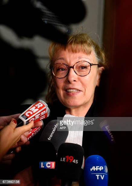 CORRECTION Liliane Glock lawyer of Francis Heaulme speaks to journalists during the trial of her client on April 25 2017 in Metz eastern France...